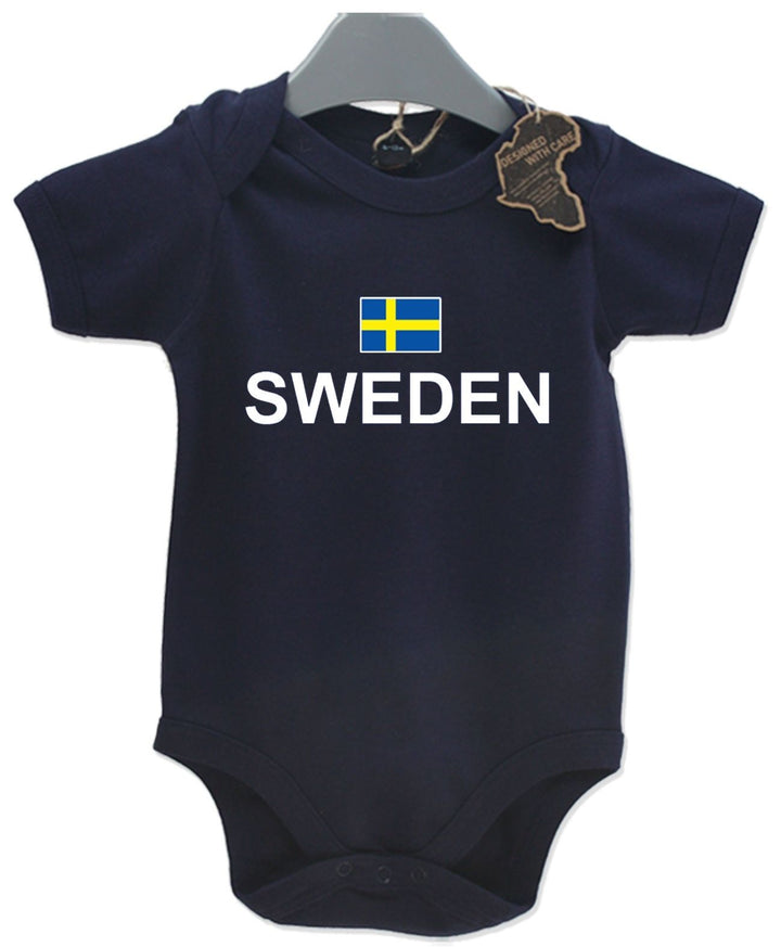 Sweden Gift Baby Grow Birthday Present Unisex BabyGrow Playsuit Football Sport