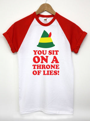 YOU SIT ON A THRONE OF LIES ELF HAT T SHIRT TOP CHRISTMAS FUNNY QUOTE XMAS MEN