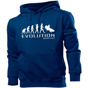 Bobsleigh Evolution Hoodie Men Women Kids Club Winter Ice Snow Boarding Skiing, Main Colour Navy