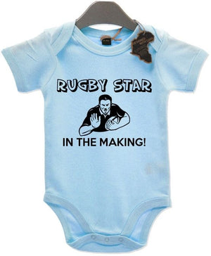 Rugby Star In The Making Baby Grow BabyGrow Playsuit Gift Cute Birthday Present