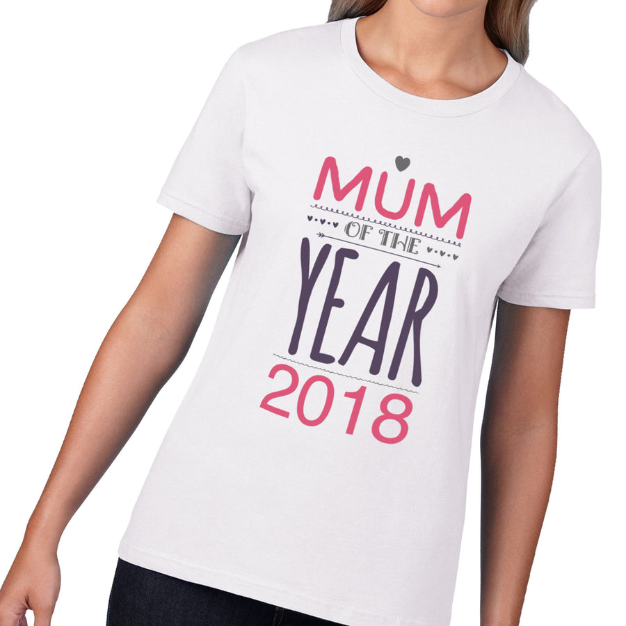 Mum of the Year 2018 T-Shirt Mothers Day Gift Card Mom TShirt Daughter Son M3