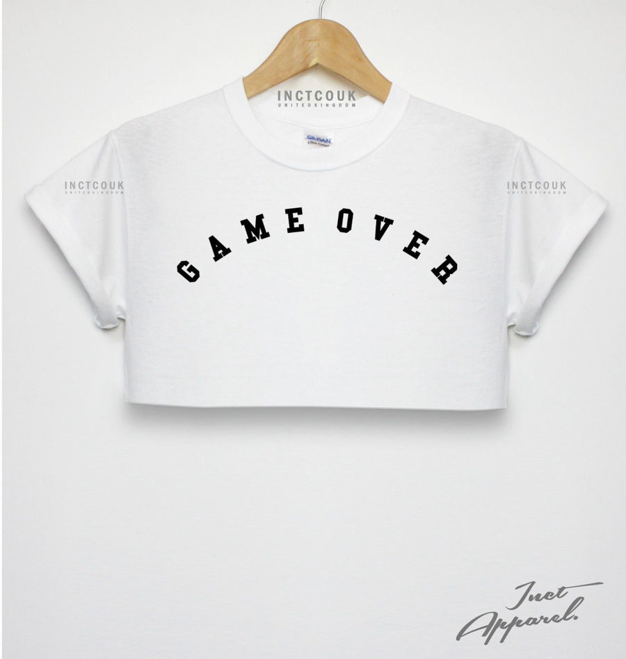 Game Over Crop Top Girls Women Teen Shop Blogger Fashion Finished Gamer Funny