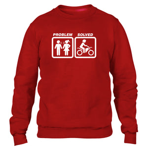 Motocross Problem Solved Sweatshirt Jumper Men Funny Women Racing Motorbike Dirt