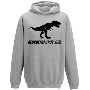 Personalised T-Rex Kids Hoodie Childrens Dinosaur Hooded Top Custom Boys L73