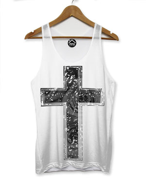 Black Rose Crucifix Vest Mens Sleeveless T Shirt  Top Holiday Religion Cross 122