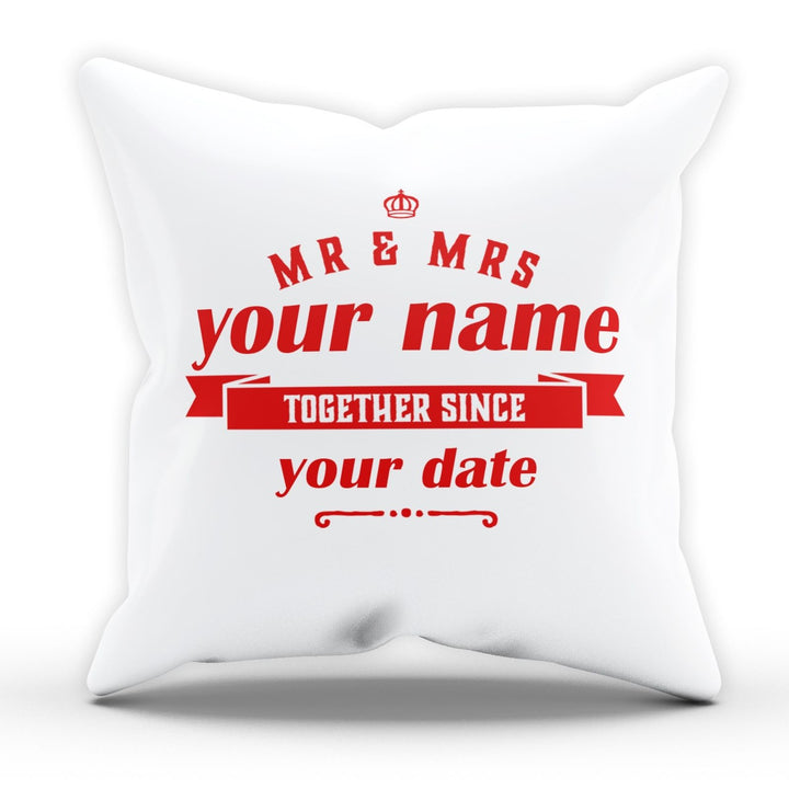 PERSONALISED Mr And Mrs Together Since Cushion Valentines Wedding Gift EM179