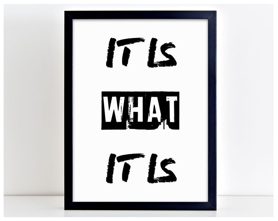 It Is What It Is Motivational Home Word Poster Print Family Typography Gift PP6