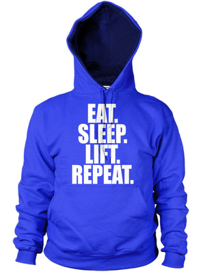 EAT SLEEP LIFT SLOGAN HOODIE TRAINING BODYBUILD GYM MEN WOMEN LAD GIFT IDEA NEW