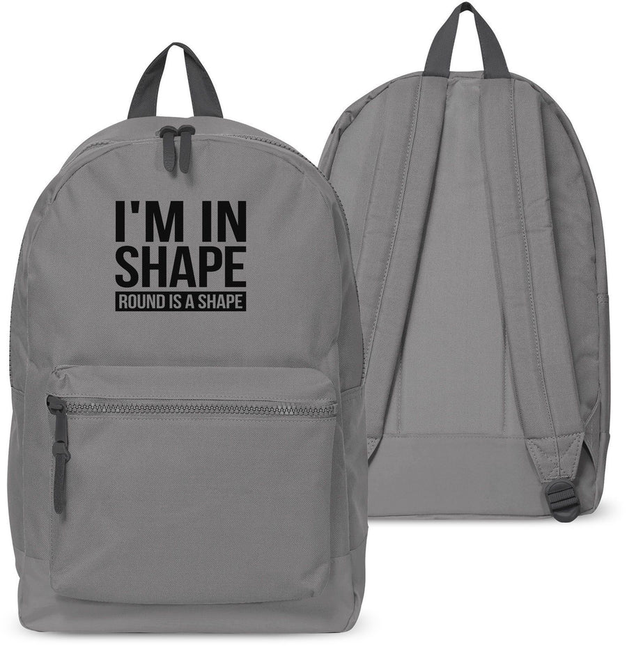 Im in Shape Round Funny Backpack Boys Girls School Bag Uni Train 36