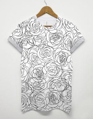 Rose Stencil All Over T Shirt Graphic Printed Floral Flower Monochrome Top Tee
