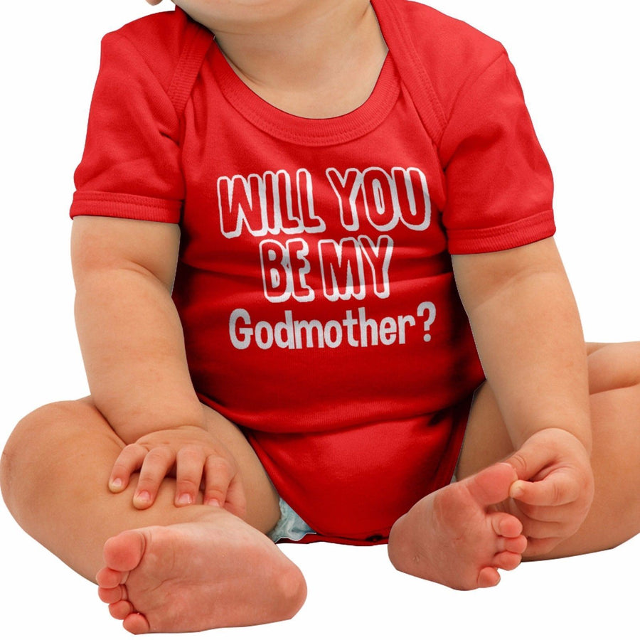 Will you be my GODMOTHER Funny Babygrow Gift Baby Grow Suit Top New Born B10