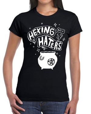 Hexing My Haters T Shirt Top Witches Spell Halloween Cold-run Girls Hate Joke