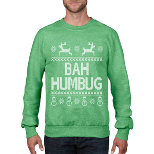 Bah Humbug Funny Christmas Jumper Top Geek Hate Christmas Sweatshirt Xmas  CH22