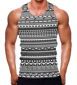 AZTEC PATTERN TANK GYM MUSCLE VEST WORKOUT MENS BODYBUILDING TRAINING TOP MMA
