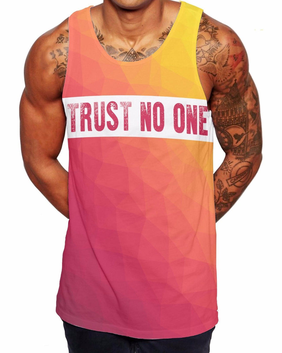 Trust No One Geometric Vest Beach Tank Top Gym Vest Ibiza Summer Holiday V9