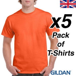 Mens Orange T Shirt 5 Pack Gildan Heavy Cotton Tee Top Plain Cheap Work Gym UK