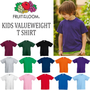 Fruit of the Loom Kids Valueweight T Shirt Top Boys Girls Tee School Uniform PE