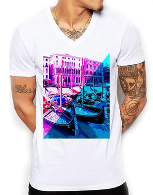 Neon Venice Distinkt Youth V Neck T Shirt Top Mens Fitted Summer EDY15