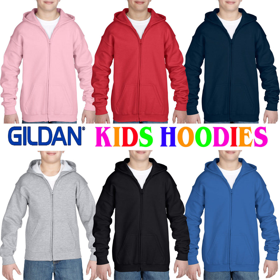 Gildan Heavy Blend Zip Up Hoodie Sweatshirt School Uniform Girls Boys Sweater