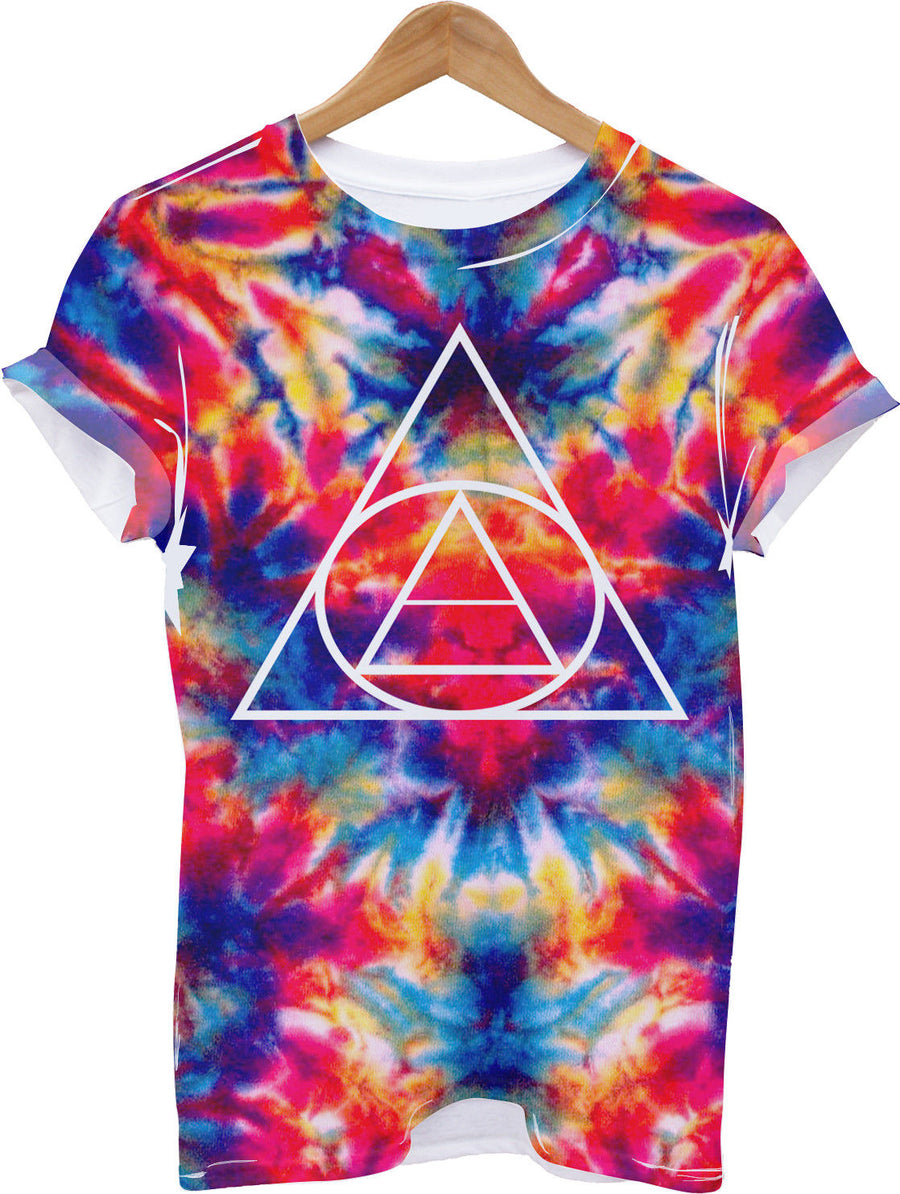 Tie Dye Triangle All Over Print Tshirt Hipster Summer Bright Hippy Hipster Indie
