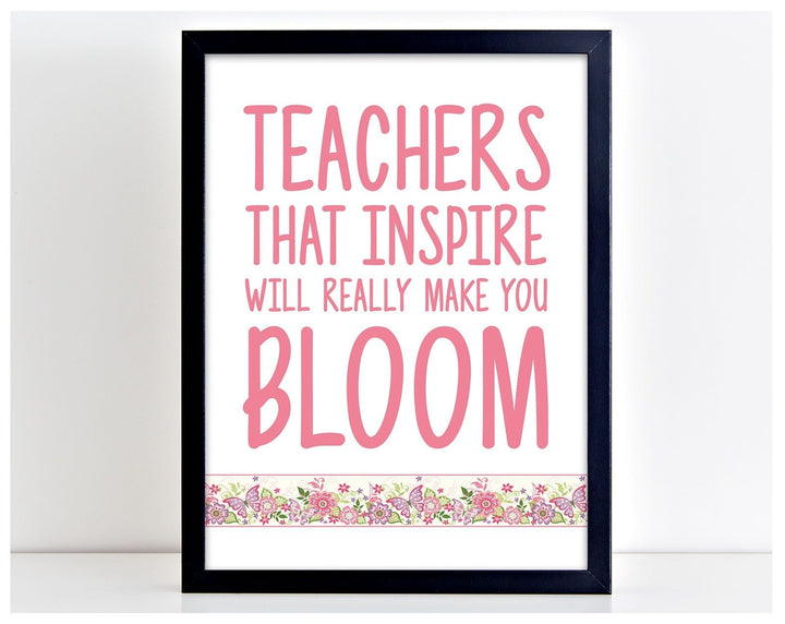 Teachers Inspire Cute Poster Print Typography School Art Picture Word Gift PP27