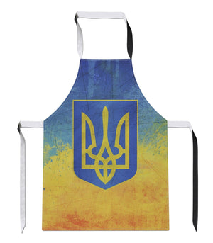 Vintage Ukraine  Country Flag Luxury Novelty APRON Kitchen Tabard Linen Gift