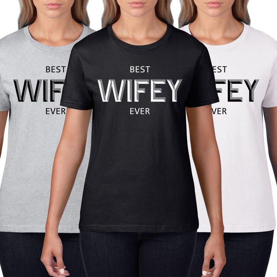 Best Wifey Ever Womens Valentines Day T Shirt Wedding Gift Love Wife Hubby V1