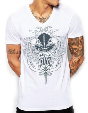 Distinkt Youth Death By Sword Mens Deep V Neck T Shirt Skull Knight Top 105