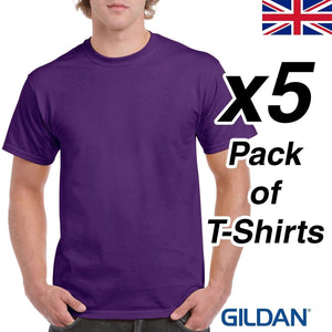 Mens Purple T Shirt 5 Pack Gildan Heavy Cotton Tee Top Plain Cheap Work Gym UK