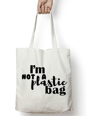 I'm Not A Plastic Bag Tote Bag Reusable Shopping Grocery Gift 5p Charge M02