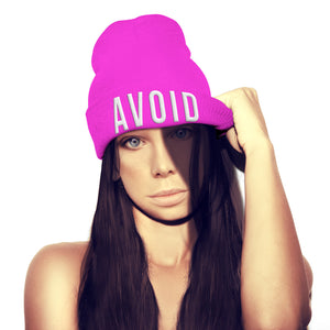 Avoid Beanie Hat Embroidery Rude Offensive Goth Geek Womens Girls Mens beenie
