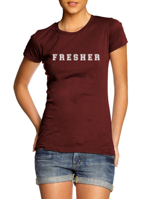 Fresher T Shirt University College Newbie School Dress Up Fancy Scholarship Rave, Main Colour Maroon