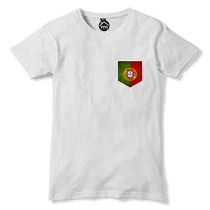 Vintage Print Pocket PORTUGAL Flag T Shirt Mens Euro Football Sport Tshirt 282