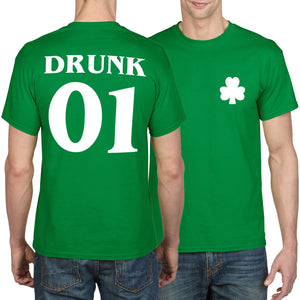 St Patricks Day Shirt GREEN DRUNK 1 Shamrock Mens Women Ireland Irish Tshirt P30