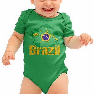 Brazil Football Shirt Brasileira Baby Grow Neymar Romper Babygrow Body Suit B40