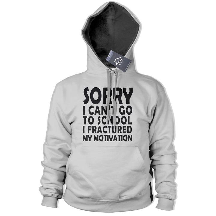Cant Go To School Fractured Motivation Hoodie Mens Womens Geek Funny Hoody 408