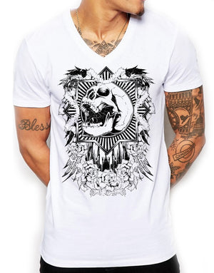 Distinkt Youth Mardi Gras Deep V Neck T Shirt Mens Printed Skull Rose Gym 584
