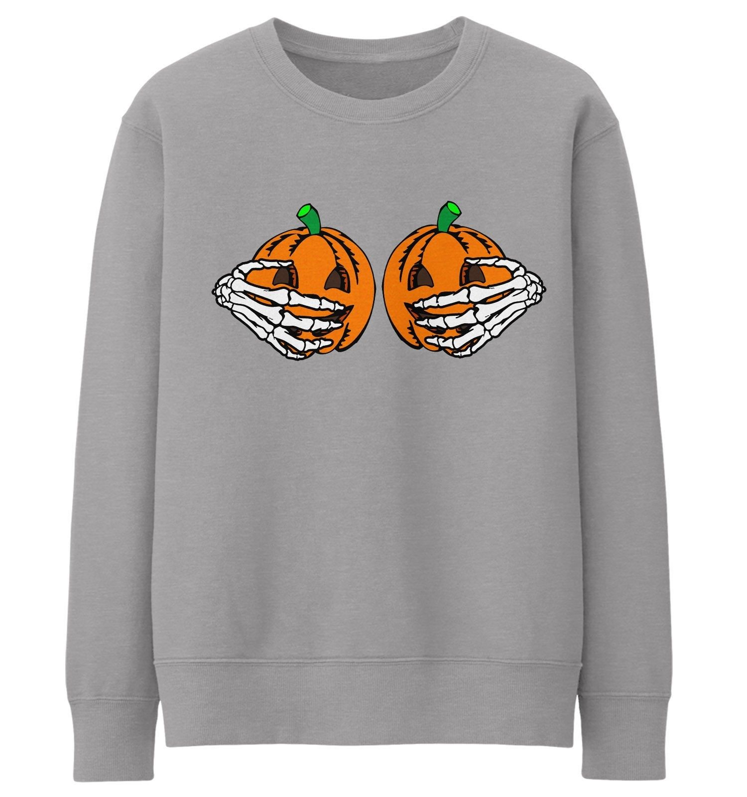 07ea60ab2 Pumpkin Boobs Skeleton Hands Sweater Halloween Jumper Funny Womens Men Kid  Lady - The Clothing Shed