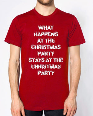 What Happens At The Christmas Party T Shirt Funny Joke Secret Santa Work Festive, Main Colour Red