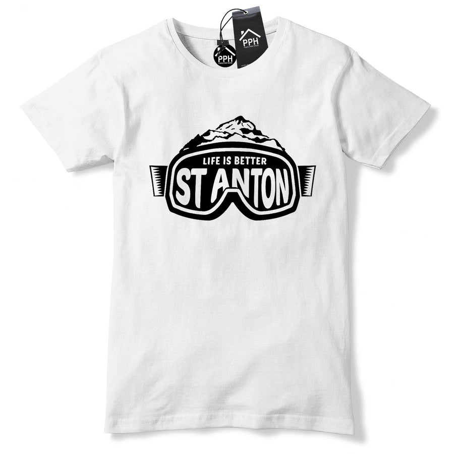 St Anton Austria Ski T Shirt Skiing Holiday Winter Snowboard Goggles tee top 200