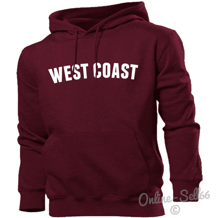 West Coast Hoodie Hoody Men Women Kids America California Los Angeles, Main Colour Maroon