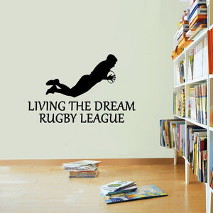 Rugby League Sticker Living The Dream Sport Try Scrum Wall Vinyl Print Decal Art