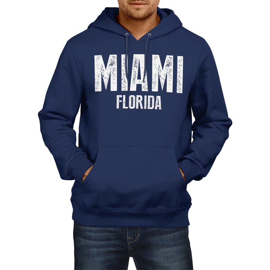 Miami Florida SLOGAN Mens US State HOODIE America Football Hoody Sweatshirt USA