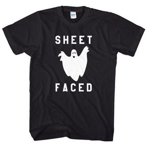 Sheet Faced Ghost T-Shirt Funny Halloween Tshirt Drunk Halloween Party L119