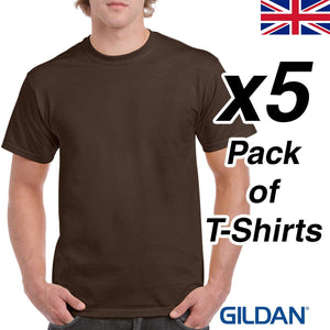 Mens Brown T Shirt 5 Pack Gildan Heavy Cotton Tee Plain Cheap UK Dark Chocolate