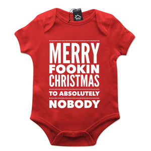 GOLD DOTS McGregor Merry Christmas Fookin Nobody Funny Babygrow Baby Grow CH45