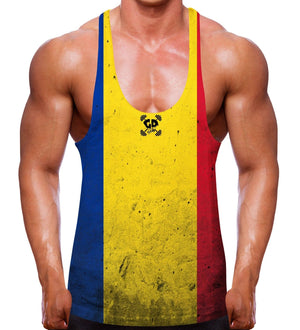 ROMANIAN FLAG MUSCLE STRINGER VEST FITTED EURO MEN BODYBUILDER ROMANIA WORKOUT