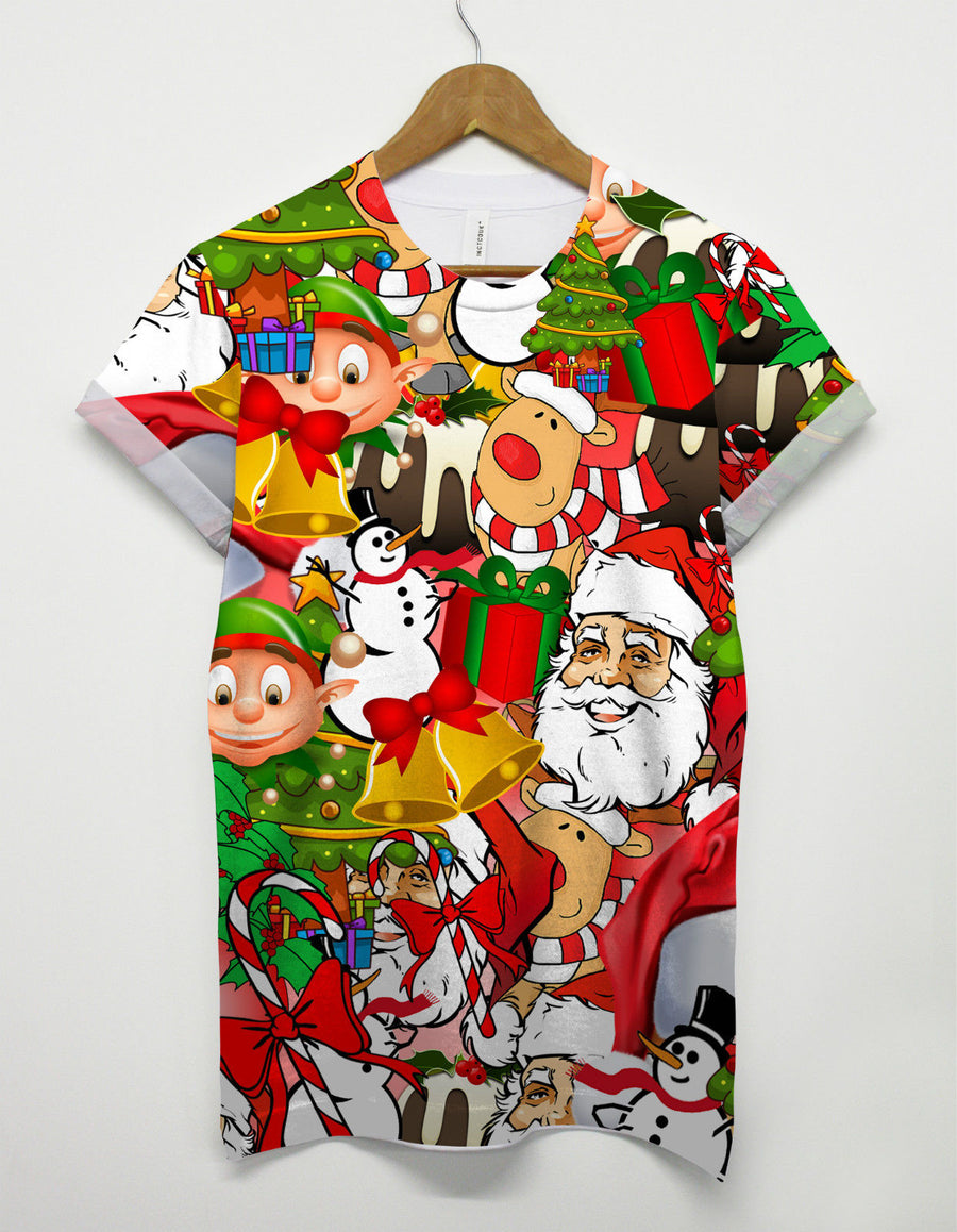 Christmas All Over T Shirt Elf Reindeer Party Funny Gift Present Snow Tree Hat