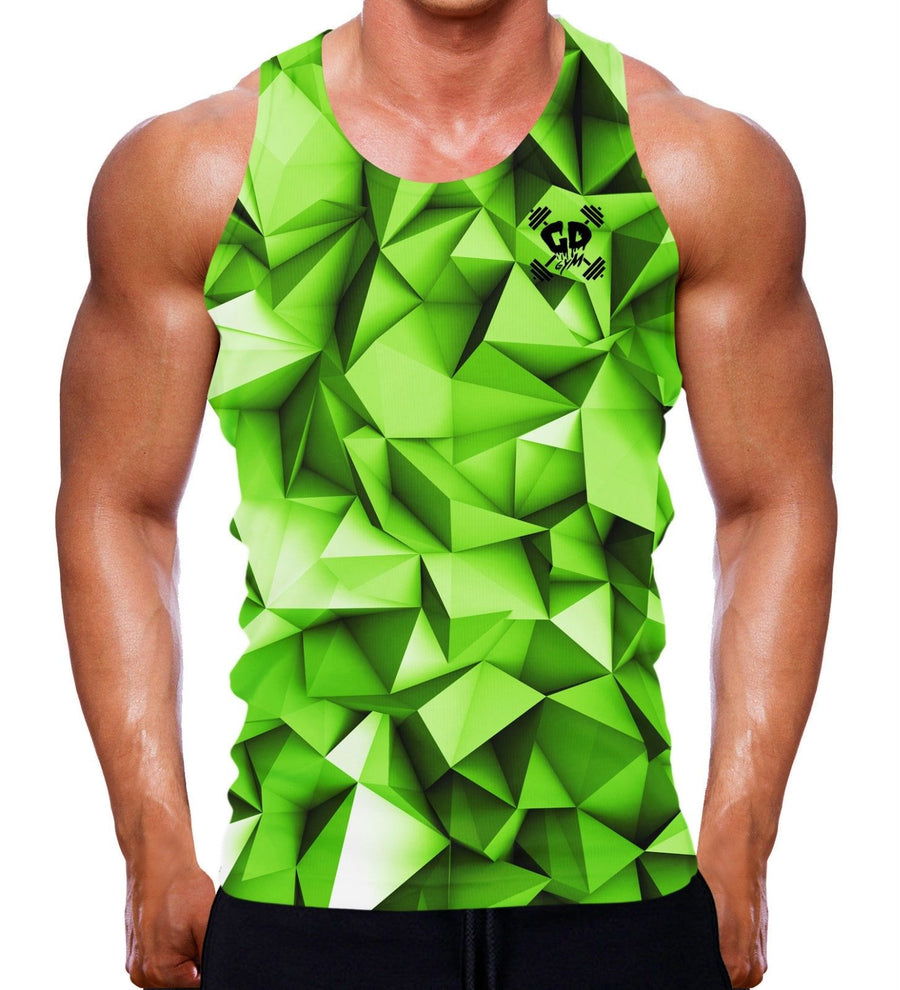 LIME GREEN GEOMETRIC MUSCLE FIT TANK VEST SLEEVELESS TOP GYM WEAR CLOTHING MEN