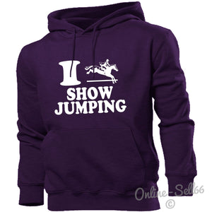 I Love Showjumping Hoodie Hoody Men Women Kids Horses Hobby Sport , Main Colour Purple